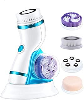 Gackoko Facial Cleansing Brush- with advance Latest Ion Technology & 4 Brush Heads for chargeable Electric Rotating Face brush -Awaken skin vitality for Deep Cleansing, Exfoliating,Blackhead (Blue-2)
