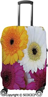 Luggage Bag Cover Good Luck Note Colorful Daisies Botanical Composition Elastic Suitcase Protective Cover Travel Luggage Case Cover