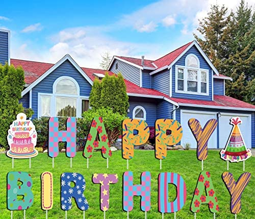 LUCKKYY Happy Birthday Yard Signs with Stakes Birthday Yard Signs with Birthday Balloon 16 Large product image