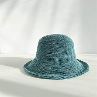 QinMei Zhou The New Milk Silk hat Knitted hat Female Japanese Korean Literary Beach Outdoor Folding Basin Cap Visor Breathable (Color : Turquoise, Size : One Size)