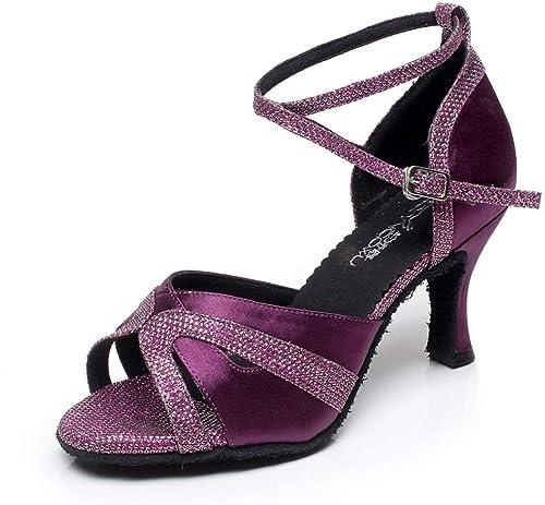 Hhor Chaussures de Danse Jazz Sexy pour Femmes, Danse Danse Danse de Salon, Danses pour Femmes (Couleuré   violetheeled6cm, Taille   UK3 EU33 Our34) 4e2