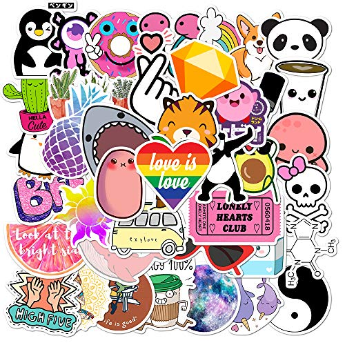 Vanson 50pcs Stickers Set for Water Bottles Big 50-Pack Cute, Waterproof, Aesthetic, Trendy Stickers for Teens, Girls Perfect for Waterbottle, Laptop, Phone, Travel
