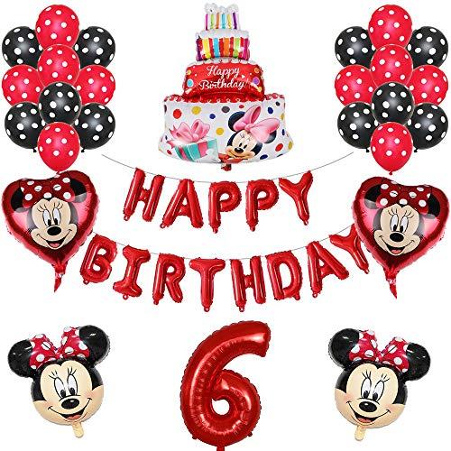 ENXI Globos 1set Disney Minnie Mickey Mouse Party Globos Baby Shower Fiesta de cumpleaños Decoraciones para niños Globos Infantiles Boy Girls Supplies ( Color : Red6 )