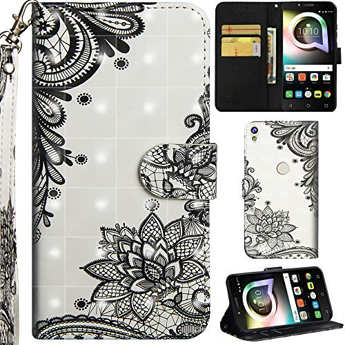 Ooboom Alcatel Shine lite 5080X Hülle 3D Flip PU Leder Schutzhülle Handy Tasche Hülle Cover Ständer mit Trageschlaufe Magnetverschluss für Alcatel Shine lite 5080X - Schwarz Lotus