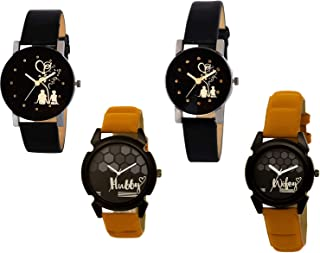 Nikola Love, Valentine, Hubby and Wife Valentine's Day Couple Analogue Black Color Dial Girls Watch - B138-G389-BL46.32-GL235 (Pack of 4)