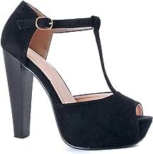 Guilty Heart Women's Peep Toe Platform Sandal Pumps Open Toe Ankle Buckle T-Strap Extreme Evening Party Dress Sandal