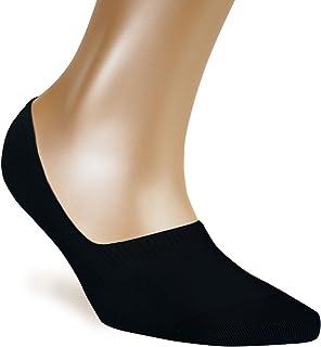 Calcetines invisibles mujer (Pack de 5) - Antideslizante & Algodón suave - Tiras de silicona - Calcetines tobilleros blancos y negros