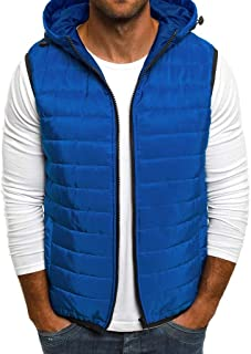 Men's Thick Warm Down Cotton Vest Coat Autumn Winter Warm Zipper Pure Color Waistcoat Top Beautyfine