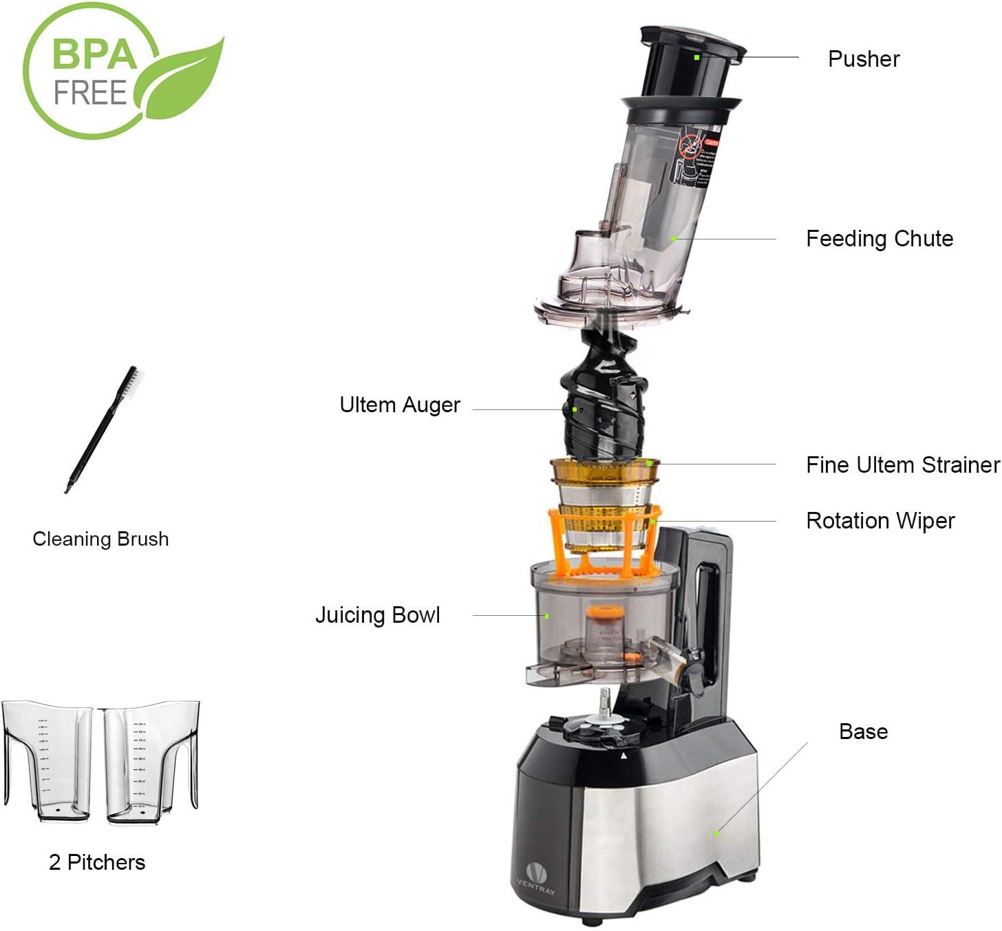 Ventray Extracteur de Jus, Slow Juicer Presse à Froid pour Fruits et Légumes Sans BPA avec Moteur Silencieux - Rendement Plus Elevé de Jus -Facile à Nettoyer (809Noir) 809noir