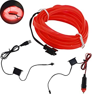 shunyang EL Wire Neon Lights USB Neon LED Light Glow EL Wire String Strip Rope Tube LED Lights DIY Decoration Strip Lights RED 3M 119 Inches 1Pcs