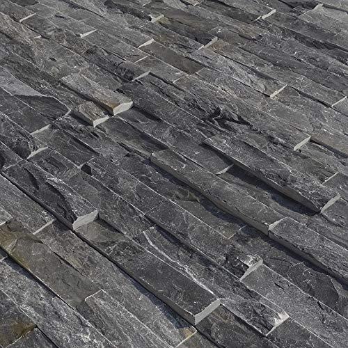 HORI® Wandverkleidung Wandpaneele Naturstein Stein Optik 3D Schiefer Grau I Modell: Kabru I Inhalt: 7 Stk. 550 x 150 mm