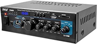 Home Audio Power Amplifier System - 2X120W Dual Channel Mixer Sound Stereo Receiver Box w/RCA, USB, AUX, Headphone, Mic Input, LED - for PA, Theater, Home Entertainment, Studio Use - Pyle PTAU55
