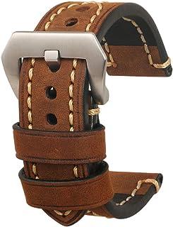 Bracelet Montre Homme Cuir - Bracelet de Montre en Cuir Véritable Vintage Bracelet Montre Accessoires avec Boucle Solide e...