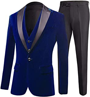 Men's One Button Royal Blue Suit Velvet Jacket Black Vest Pants Wedding Suits Groom Tuxedos
