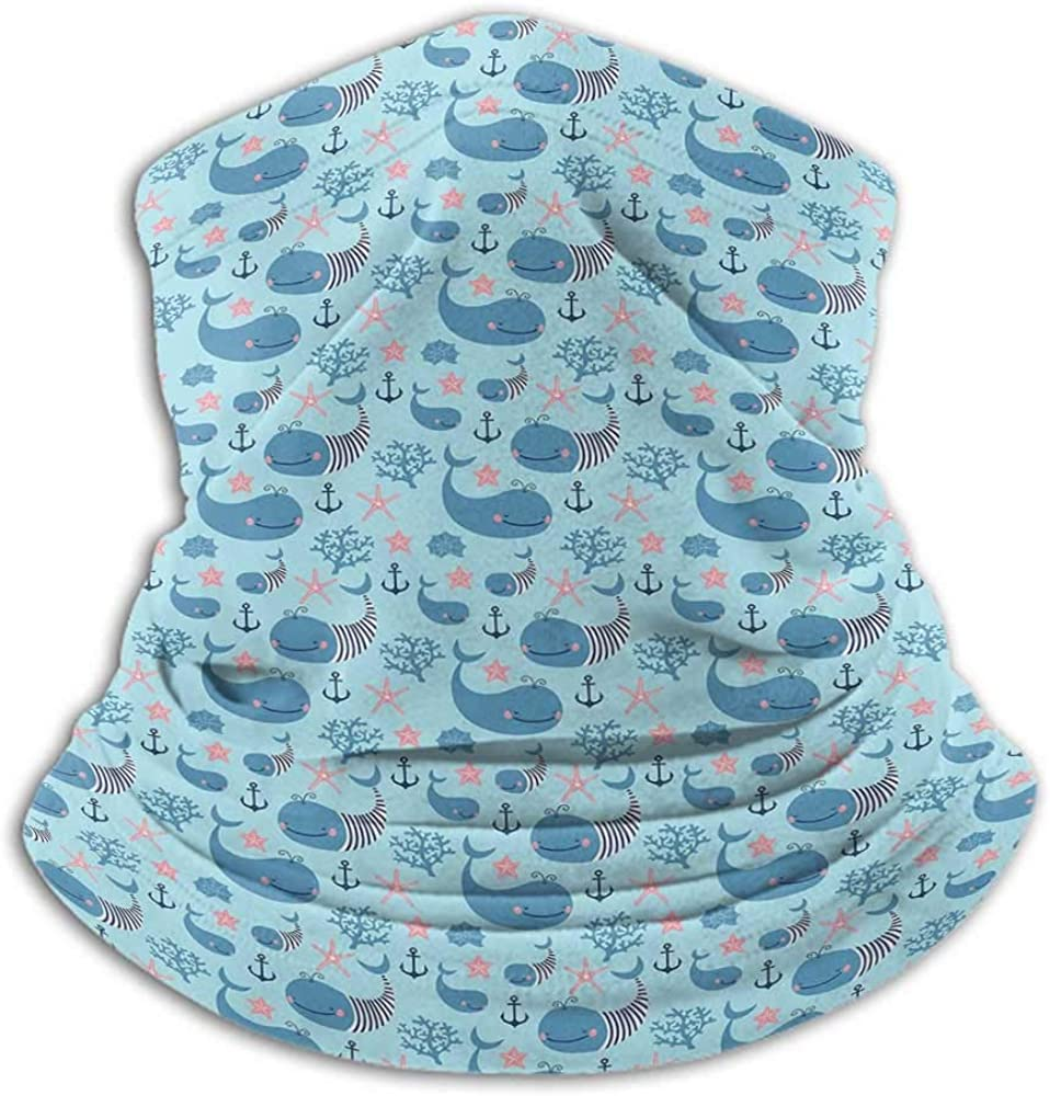 Bandanas for Men Whale Fishing Neck Gaiter Sun Protection Happy Smiling Sea Animals with Coral Reef Anchor Starfish and Shells Pale Blue Navy Blue Coral