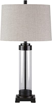 Signature Design by Ashley - Talar Glass Table Lamp with Drum Shade - Clear/Bronze Finish