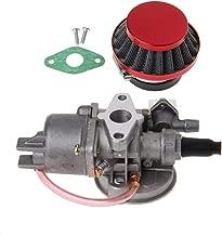 Xuniu Carburador Carb Carby + Filtro de Aire Rojo + Pila para 2 Piezas del Motor 47cc 49cc Mini Moto