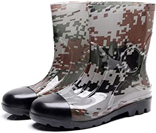 Camouflage Mid Rain Boots,NDGDGA Men's Non-Slip Rain Boots Outdoor Rubber Water Shoes Wide Calf Boots