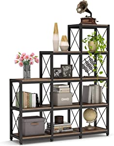 Tribesigns 12 Shelves Bookshelf, Industrial Ladder Corner Bookshelf 9 Cubes Stepped Etagere Bookcase, Rustic 5-Tier Display Shelf Storage Organizer for Home Office (Rustic Brown)
