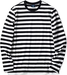 Zengjo Men's Casual Cotton Spandex Striped Crewneck Long-Sleeve T-Shirt Basic Pullover Stripe tee Shirt