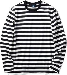 2b0a6874 Zengjo Men's Casual Cotton Spandex Striped Crewneck Long-Sleeve T-Shirt  Basic Pullover Stripe