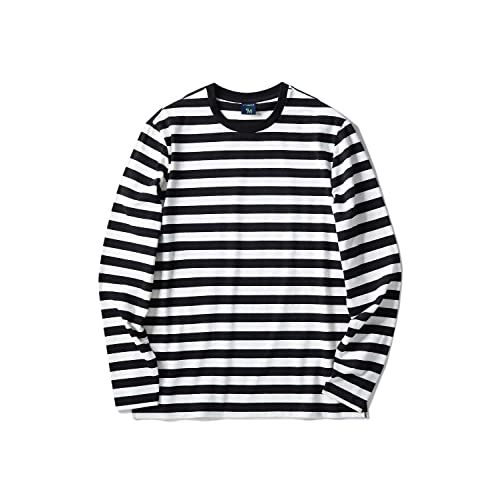 0165bf8513 Zengjo Men s Casual Cotton Spandex Striped Crewneck Long-Sleeve T-Shirt  Basic Pullover Stripe