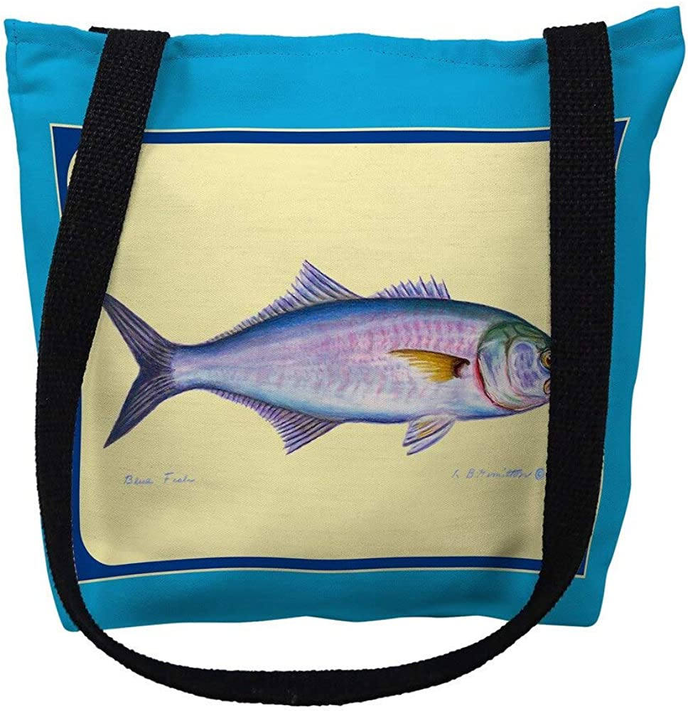 Betsy Drake TY007AM 16 x in. Finally popular brand Multi Border M Bag Tote Las Vegas Mall I Fish -
