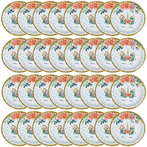 JETTINGBUY 30 Pcs 9 Inches Unicorn Plates, Unicorn Party Plates,Unicorn Cake Dessert Paper Plates, Eco Disposable Plates, Magical Unicorn Party Decorations Supplies