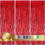 TONIFUL 3pz Tende a Frange Rosso Frangia Decorative Lamina Metallica Orpello Decorazione per Partito Matrimonio Festa di Compleanno (Rosso