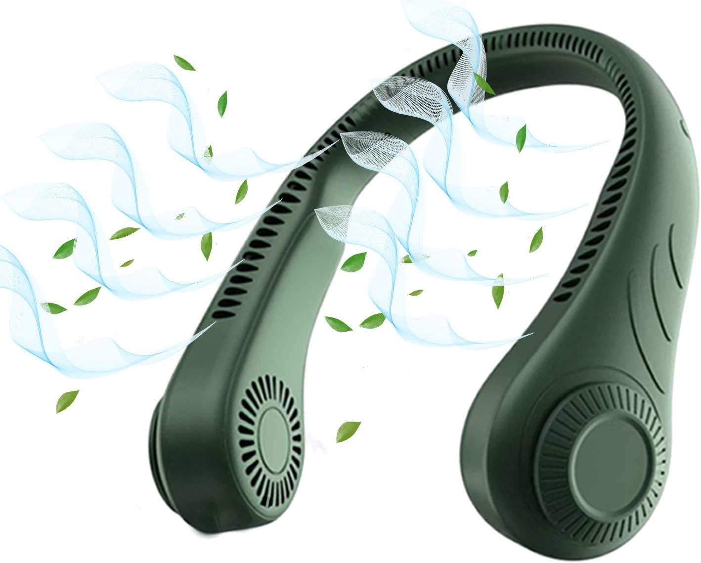 Portable Neck Fan Bladeless Hands Free Fan,Personal USB Fans Wearable Neck Hang Fan 3 Wind Speeds Sports Rechargeable Neck Fan for Office,Outdoor-Green