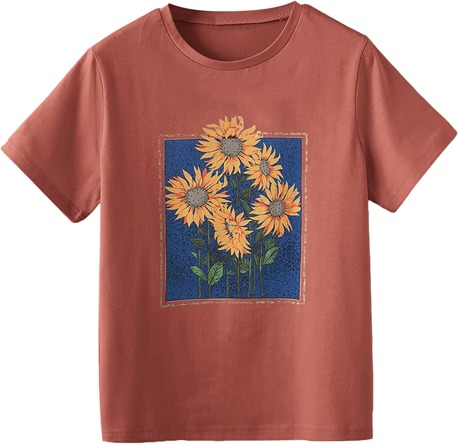 Romwe Women's Plus Size Floral Graphic Print Short Sleeve Basic T Shirt Tee Tops