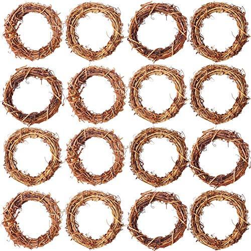 Suading 16 Pieces Wreaths Vine Branch Wreath Christmas Rattan Wreath Garland Decoration for Craft or Wedding Supplies 3.14 Inch