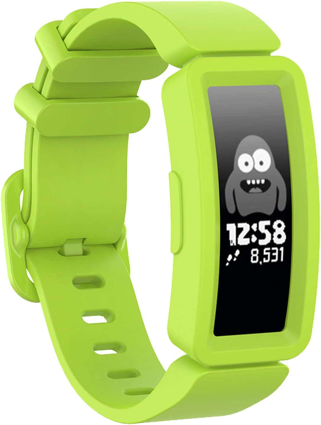 SPOBIT Bands Compatible with Fitbit Ace 2 Kids 6+, TPU Silicone Bracelet Accessories Sport Strap Wristbands Replacement for Fitbit Inspire HR & Ace 2 Boys Girls Lime