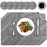Platzsets Leder Tischset 6er Set PU Kunstleder Abwaschbar rutschfest Platzdecken für Hause Küche Restaurant und Hotel, 45 x 30cm, 6 Tischsets und 6 Untersetzer (grau)