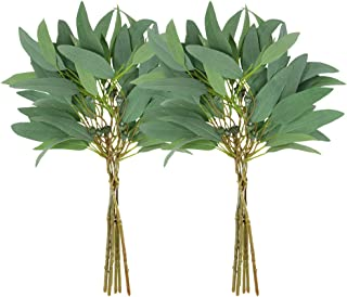 Supla 2 Pack Faux Seeded Eucalyptus Long Leaves Greenery Bouquets Long Leaves Grey Green Atificial Eucalyptus Plants Spray with Fruit Pods for Greenery Wedding Bride Baby Shower Woodland Floral Decor