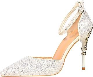 624bc20be1c225 wealsex Escarpins Sandales Paillette Femme Talon Haut Aiguilles Sexy Bout  Pointu Bride Cheville Boucle Chaussure Elégant