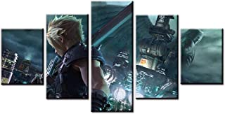 PENGDA Modern Canvas Print Artwork Painting 5 Panel Home Decor Final Fantasy Remake Cloud Strife Modular Posters Wall Pictures for Living Room Framed
