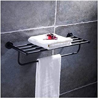 LUKEEXIN Towel Rack Stainless Steel Black Bathroom Bathroom Towel Rack Towel Rack Bathroom Bathroom Hardware Accessories (Color : 001)