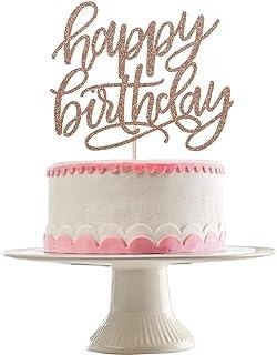 Rose Gold Glittery Happy Birthday Cake Topper- Birthday Party Decorations,Birthday Cake Decor,1st Birthday Party Decor