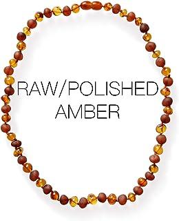 Meraki Adult Amber Necklace - Cognac Polished/Raw Mix