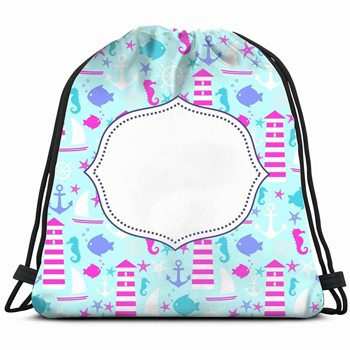 cute card navy parks outdoor Drawstring Backpack Gym Sack Lightweight Bag Water Resistant Gym Backpack for Women&Men for Sports,Travelling,Hiking,Camping,Shopping Yoga