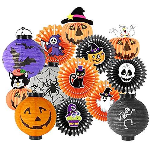 Kalolary - Juego de 13 piezas de decoración de Halloween, papel de seda colgante, diseño de calabaza y faroles colgantes con luz LED para el hogar, al aire última intervensión,...