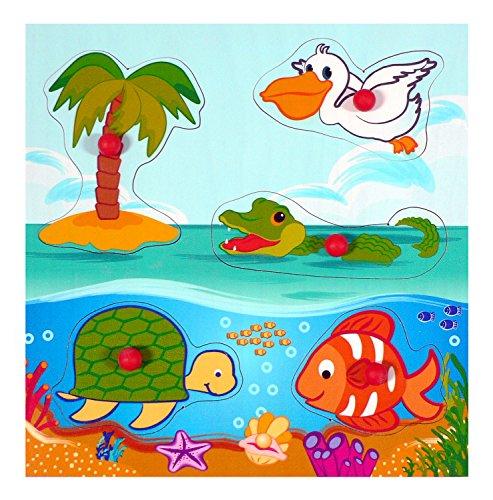 Hess 14895 - Puzzle mango de madera con animales marinos (5 partes)