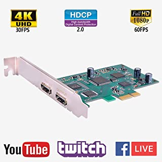 Y&H HDMI Capture Card OBS Studio Live Streaming 1080P 60FPS Audio and Video Game Record Device PCIE Port Plug and Play for PS3 PS4 Xbox One 360 Wii U and Nintendo Switch