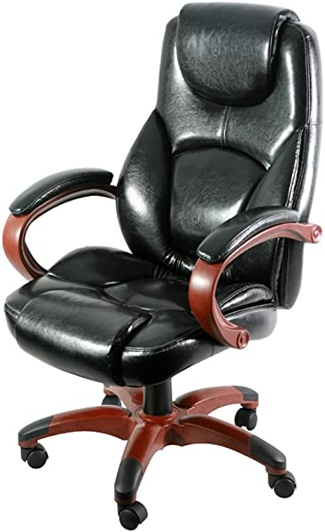 Galena Bonded Leather Wood Base High Back Chair Black Bonded Leather Cherry Finished Arms Base Dimensions 26 77 W X 27 96 D X 44 29 H Seat Dimensions 21 26 Wx21 46 Dx18 31 19 09 H