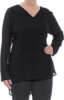 Alfani Womens Blue V-Neck Swing Tunic T-Shirt Top Plus 0X BHFO 1332