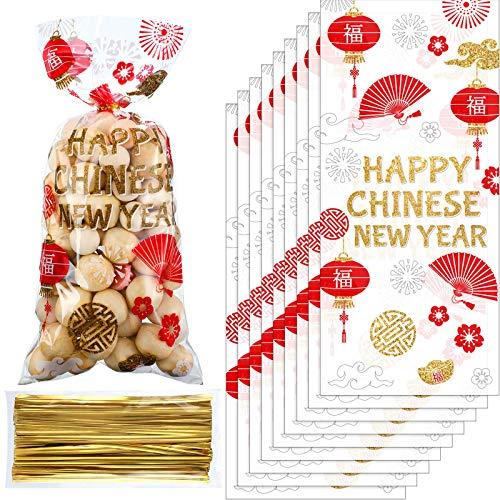 100 Bolsas de Regalo de Celofán de Año Nuevo Chino, Bolsas de Dulces de Plástico de Fiesta China de Oro Rojo Bolsas de Regalo de Golosinas con 100 Lazos Dorados para Año de Buey Año Lunar