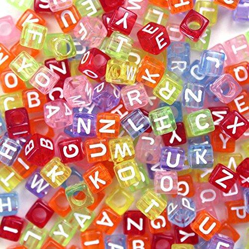Goodlucky365 500 pz Perline Lettere Perline Alfabeto in Plastica Acrilica Mista Colorate con lettere Bianco /Lettera di Alfabeto 'A-z' Perline 6x6mm