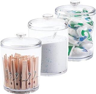 mDesign Set x 3 Cajas de almacenaje para lavadero - Caja organizadora para lavandería - Cesta almacenaje para jabón en Pol...