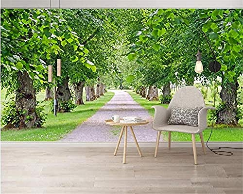 XHXI Customize Any Size 3D Wallpaper Fresh Natural Scenery Greenery Hd Green Shade Home Decor for Living Room Sofa Tv Ba 3D Wallpaper Paste Living Room The Wall for Bedroom Mural border-400cm×280cm